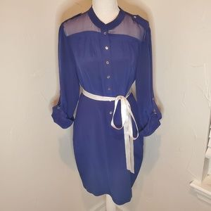 Bebe Navy Button Down Shirt Dress M